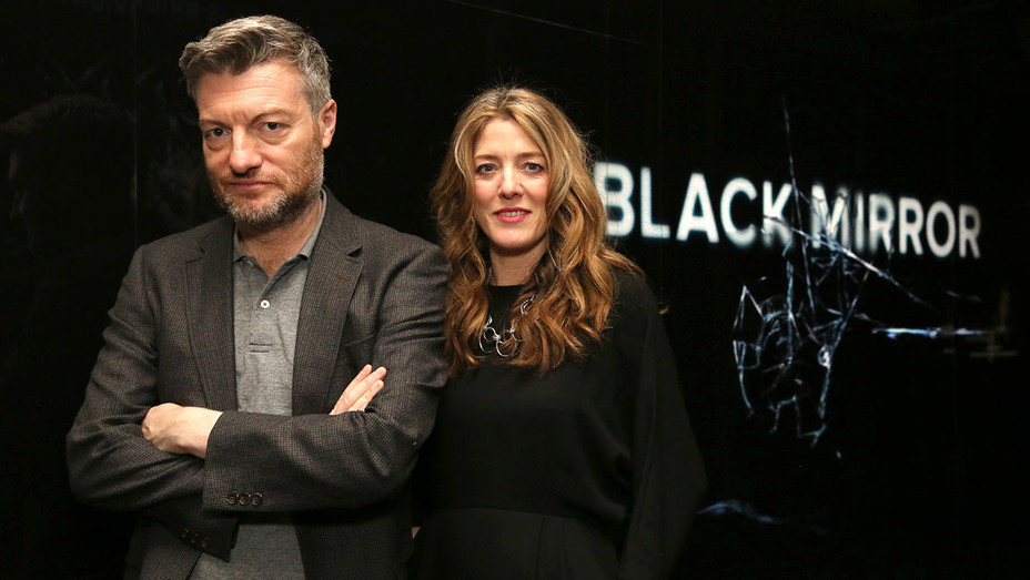 Black Mirror showrunners Charlie Brooker and Annabel Jones - Publicity-H 2017