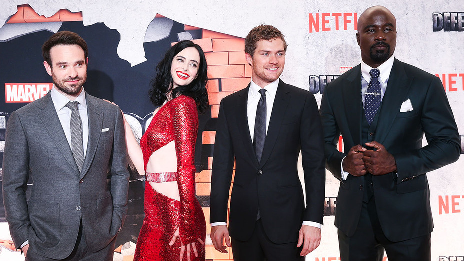 Charlie Cox, Krysten Ritter, Finn Jones, and Mike Colter - Marvel's Defenders Premiere - Getty - H 2017