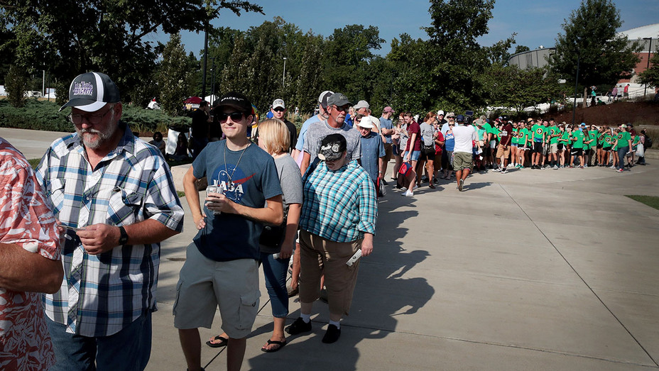 People wait to open at Saluki Stadium to watch the solar eclipse on August 21, 2017 -Getty-H 2017