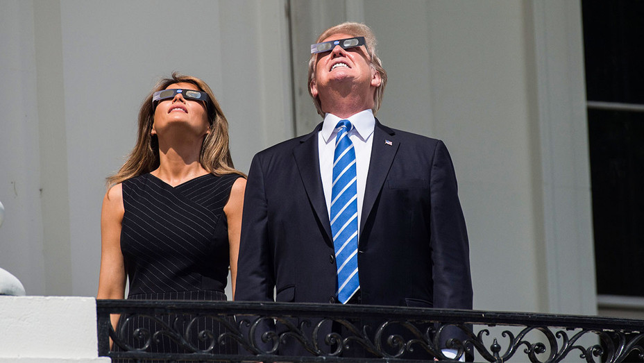 Melania and Donald Trump Watching Solar Eclipse - Getty - H 2017