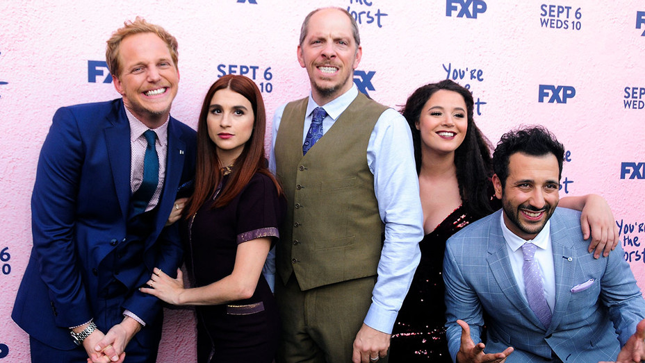 You're The Worst Season 4 Premiere Chris Geere, Aya Cash, Stephen Falk, Kether Donohue and Desmin Borges - Getty - H 2017