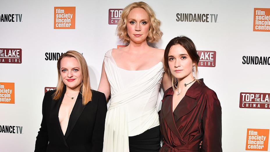Elisabeth Moss, Gwendoline Christie and Alice Englert - Top of the Lake China Girl - Getty - H 2017