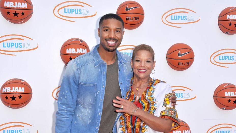 Michael B Jordan and mother at MBJAM 17 - H 2017 Getty