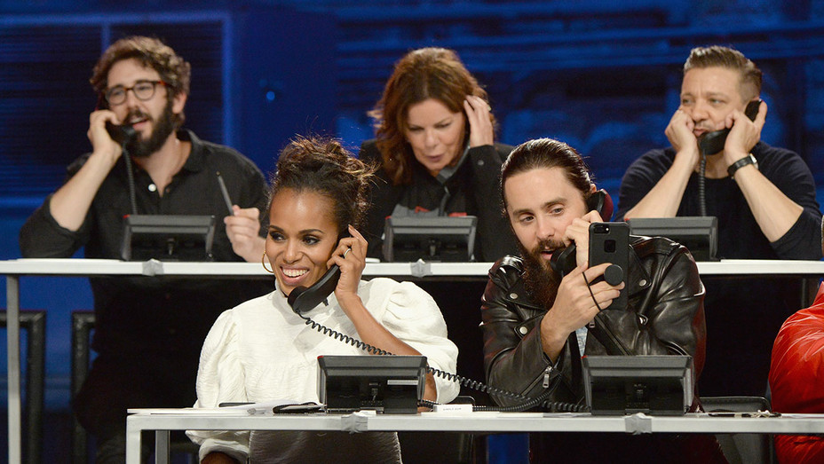 Hand in Hand_Josh Groban, Kerry Washington, Marcia Gay Harden, Jared Leto and Jeremy Renner_Phone bank - Getty - H 2017