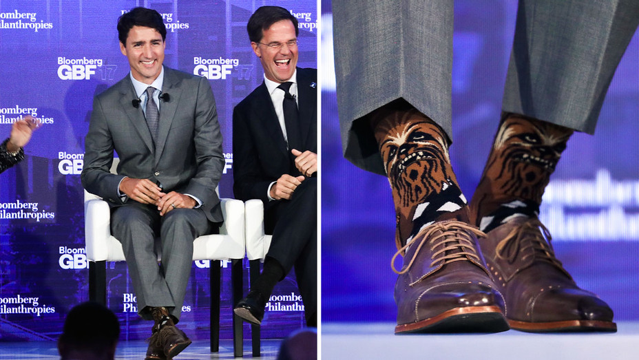 Justin Trudeau - Bloomberg Global Business Forum Socks - Split - Getty - H 2017