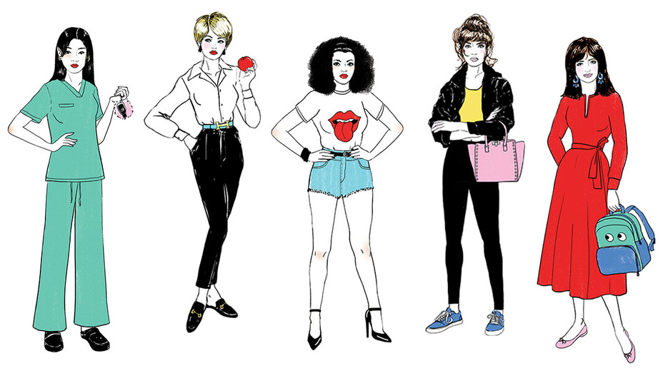 L.A.'s Back-to-School Mom-iforms -Illustrations by Amanda Lanzone - H 2017