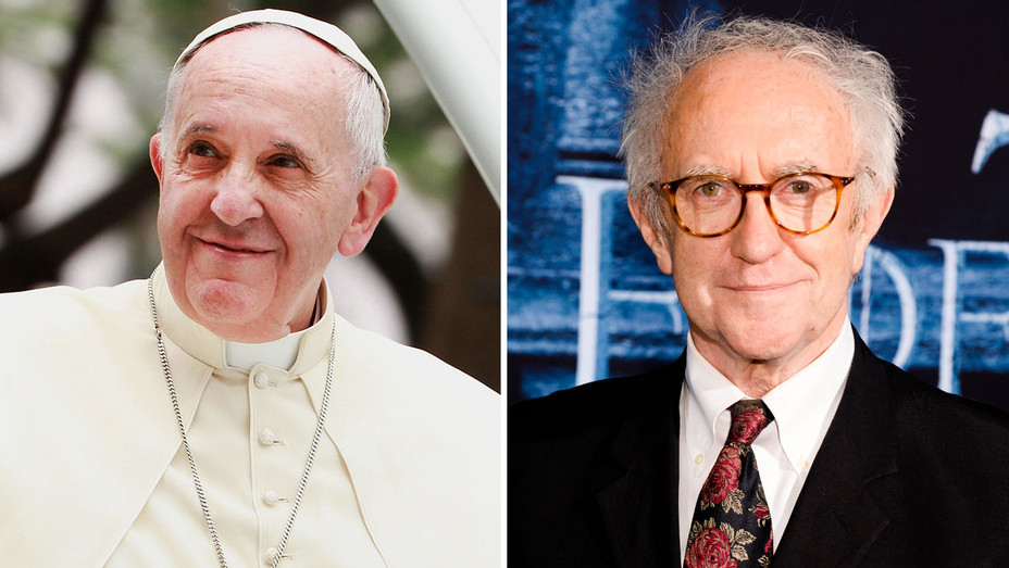 Pope Francis and Jonathan Pryce - Split - Getty - H 2017
