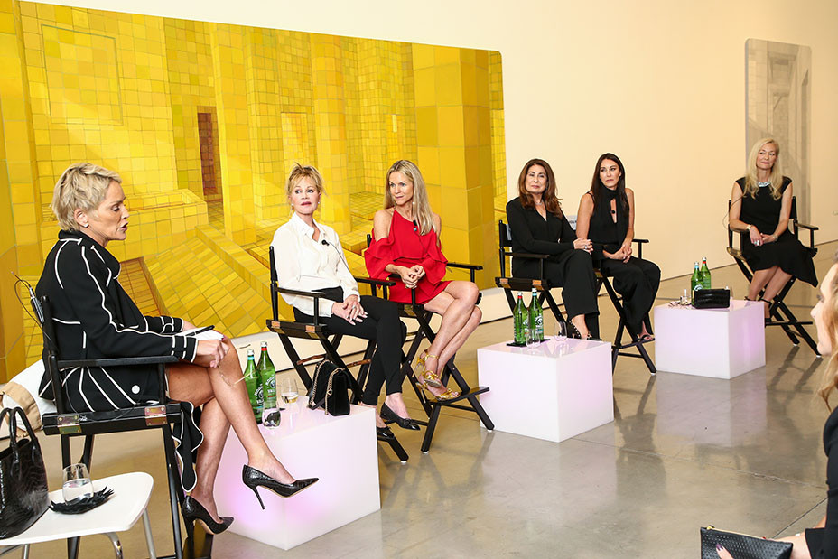 Sharon Stone, moderating an event to raise awareness for Women's Brain Health Initiative, speaks while panelists Melanie Griffith, Paula Wagner, Tamara Mellon, Crystal Lourd, and brain health expert Dr. Pauline Maki look on inside Gagosian Gallery in Beverly Hills on Oct. 18, 2017. (Photo: John Salangsang/BFA.com)