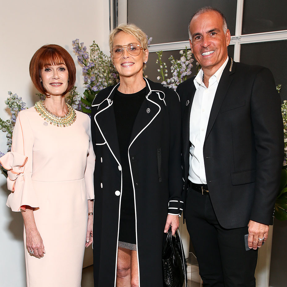 Sharon Stone poses with Women's Brain Health Initiative founder and president Lynn Posluns and Mark Lash during an event to raise awareness for Women's Brain Health Initiative at Gagosian Gallery in Beverly Hills on Oct. 18, 2017. (Photo: John Salangsang/BFA.com)