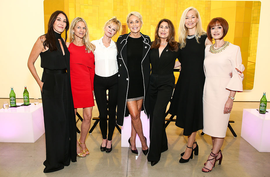 Tamara Mellon, Crystal Lourd, Melanie Griffith, Sharon Stone, Paula Wagner, brain health expert Dr. Pauline Maki and Women's Brain Health Initiative founder and president Lynn Posluns pose together inside Gagosian Gallery in Beverly Hills following a panel moderated by Stone on Oct. 18, 2017. (Photo: John Salangsang/BFA.com)