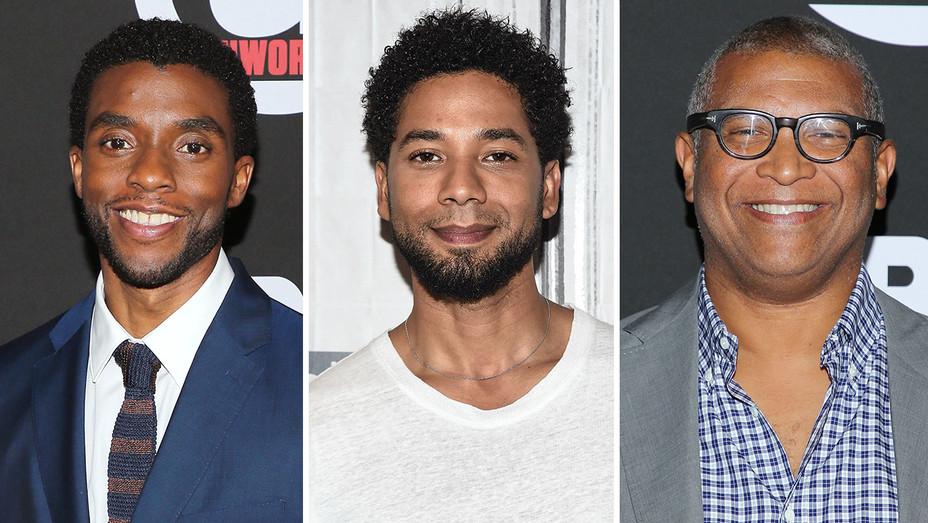 Chadwick Boseman, Jussie Smollett and Reginald Hudlin_Split - Getty - H 2017