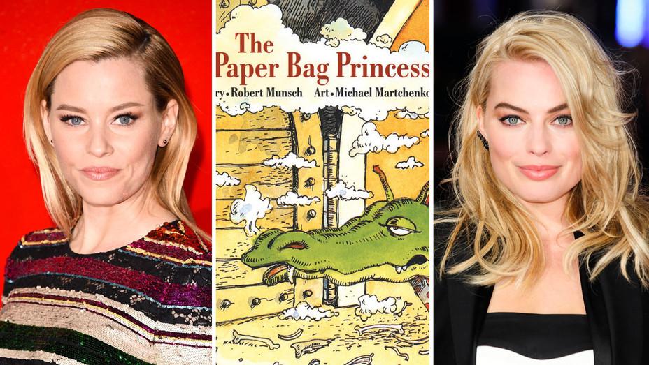 Elizabeth Banks, The Paper Bag Princess Cover and Margot Robbie - Split - Getty - H 2017