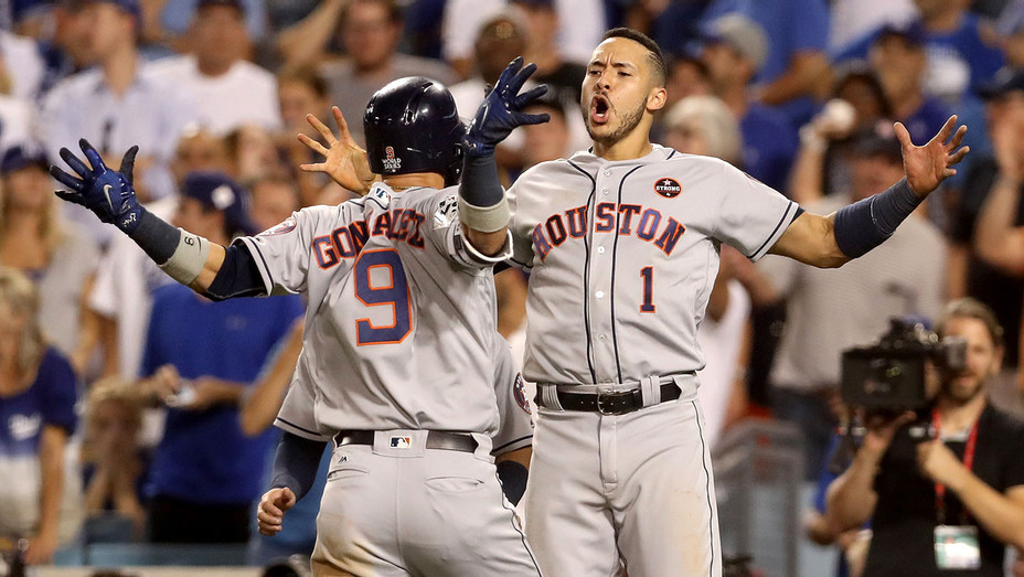Houston Astros celebrates in game two of the 2017 World Series -H 2017