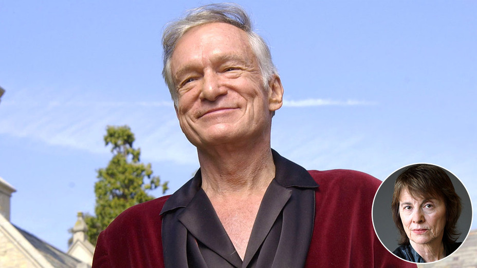 Hugh Hefner with an inset of Camille Paglia-Getty-H 2017