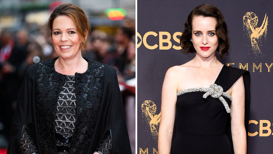 Olivia Colman and Claire Foy - Split - Getty - H 2017