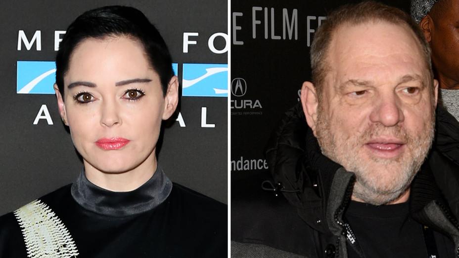 Harvey Weinstein and Rose Mcgowan -Split Getty-H 2017