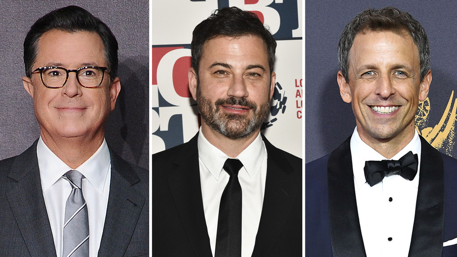 Stephen Colbert Jimmy Kimmel Seth Meyers - Getty - H Split 2017