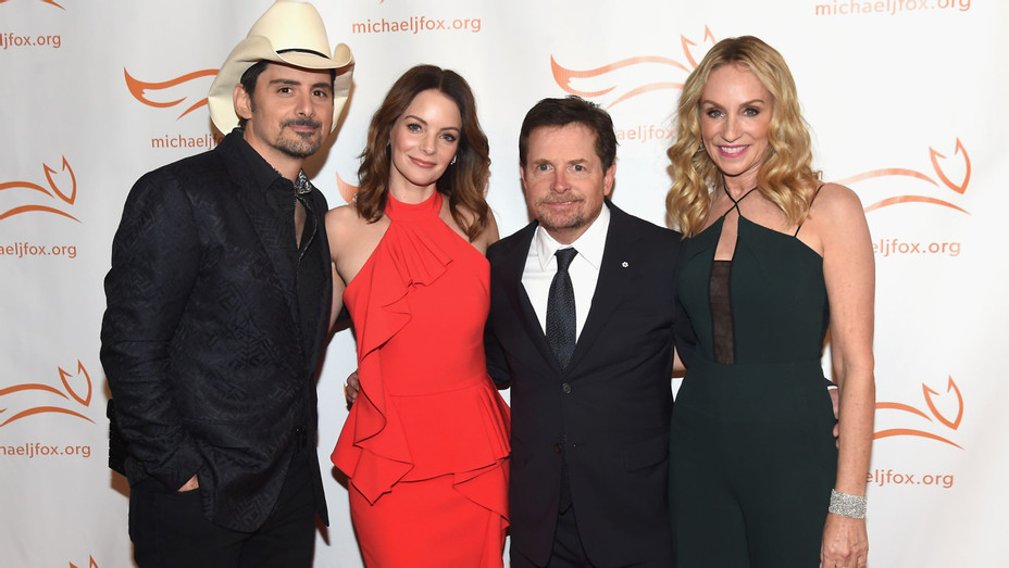 Michael J. Fox, Brad Paisley, Kimberly Williams Paisley and Tracy Pollan at Michael J. Fox Foundation Event - H Getty 2017