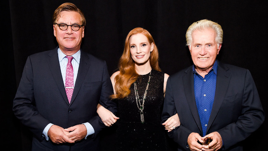 Aaron Sorkin, Jessica Chastain and Martin Sheen - Molly's Game Closing Night Gala - Getty - H 2017