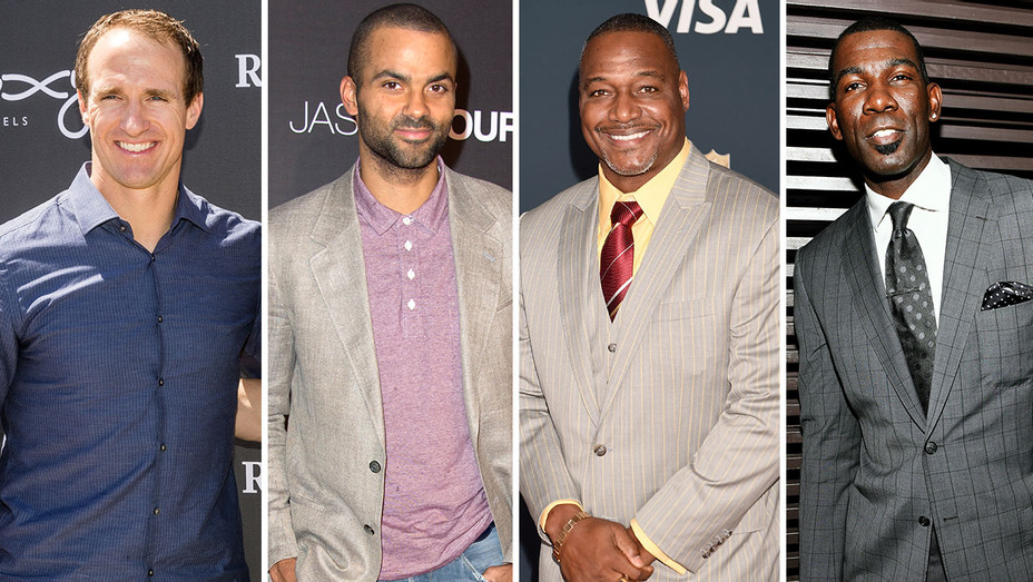 Drew Brees Tony Parker Derrick Brooks, and Michael Finley- Split-Getty-H 2017