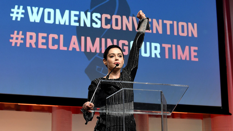 Rose McGowan speaks on stage at The Women's Convention at Cobo Center  -Getty-H 2017