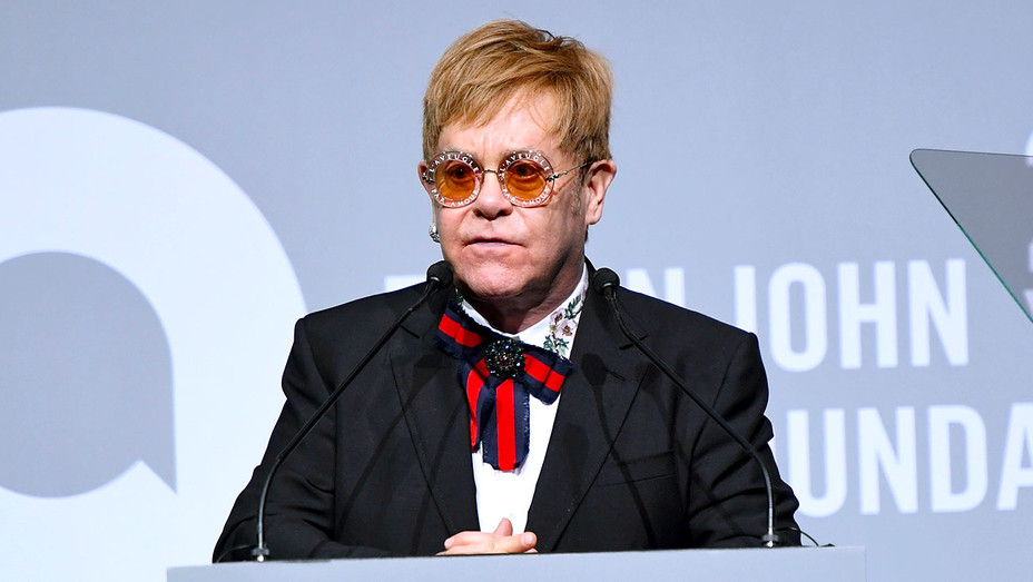 Elton John speaks onstage at the Elton John AIDS Foundation - Getty- H 2017