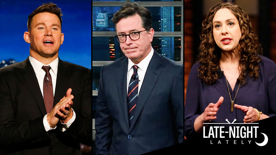 Late Night Lately Channing Tatum, Stephen Colbert and Jenny Hagel - Split - Publicity - H 2017