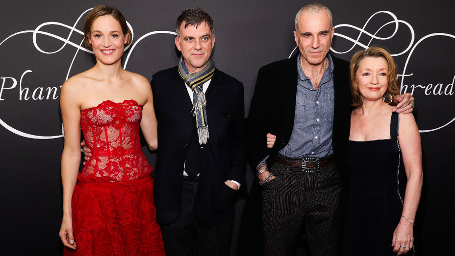 Vicky Krieps, Paul Thomas Anderson, Daniel Day Lewis and Lesley Manville - Phantom Thread New York Premiere - Getty - H 2017