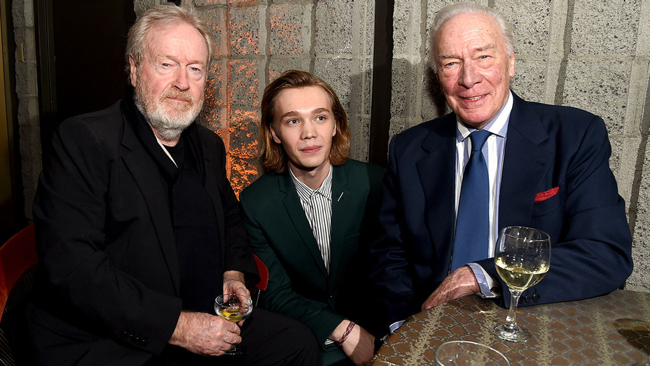 All the Money in The World After Party - Director Ridley Scott, Charlie Plummer and Christopher Plummer -Getty-H 2017