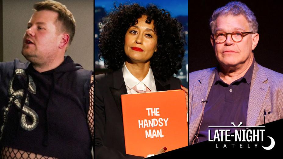 Late Night Lately James Corden, Tracee Ellis Ross and Al Franken - Split - Getty - H 2017