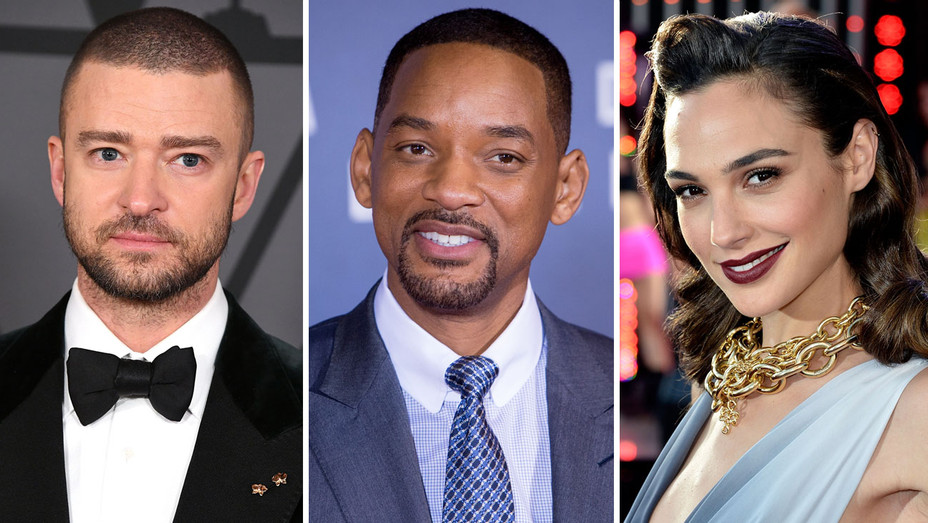 Justin Timberlake, Will Smith and Gal Gadot - Split - Getty - H 2017