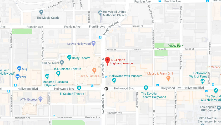 Hollywood & Highland Google Map - H 2017 Screengrab