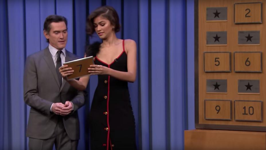 Zendaya and Billy Crudup Playing Charades on Jimmy Fallon's 'Tonight Show' - H Screengrab 2017