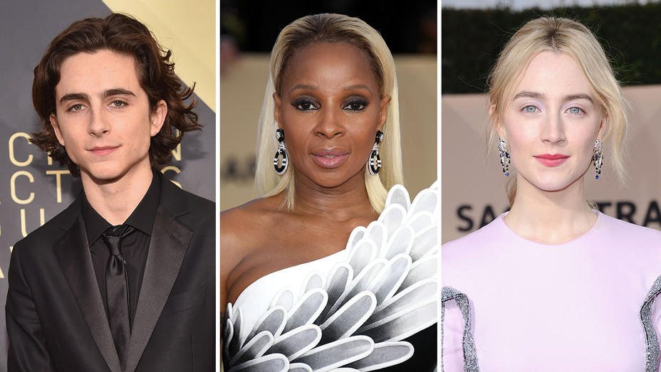 timothee chalamet, mary j blige and saoirse ronan_Split - Getty - H 2018