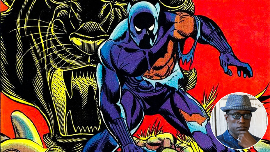 Black Panther Comic Cover and Wesley Snipes - Inset - Getty - H 2018