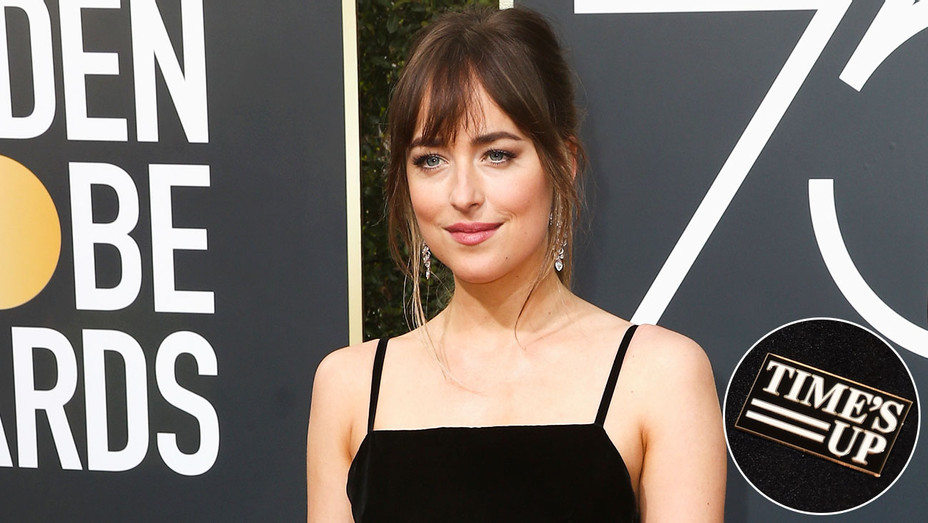 Dakota Johnson and Time's Up Button - Inset - Getty - H 2018