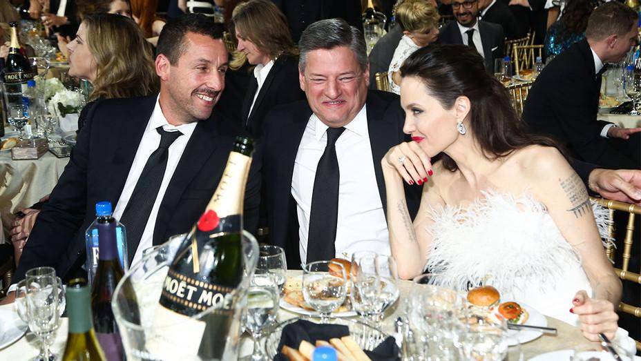 Adam Sandler, Ted Sarandos and Angelina Jolie - 2018 Critics Choice Awards - Getty - H 2018