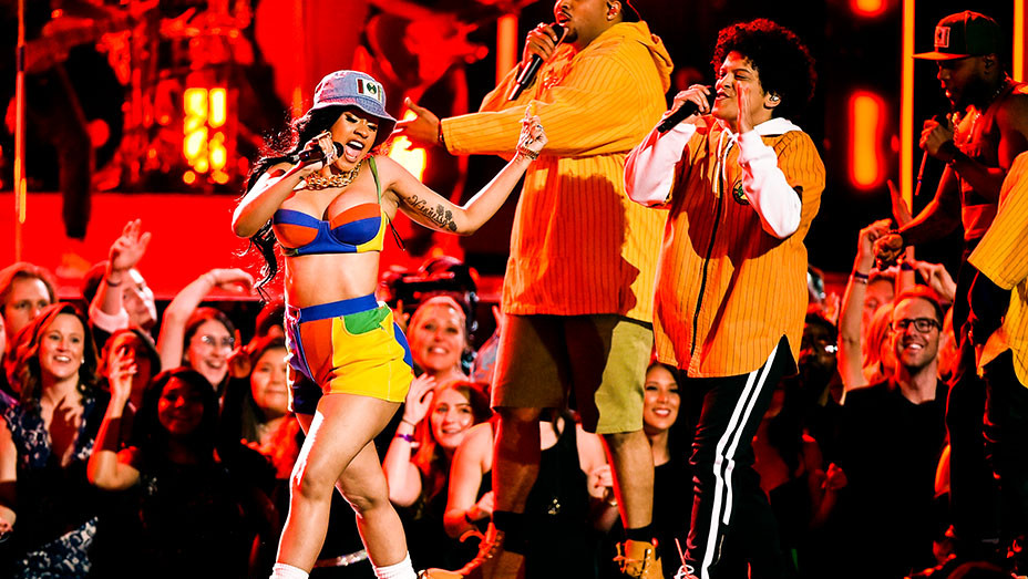 Bruno Mars and Cardi B Performance - Grammys Performance - Getty - Embed 2018