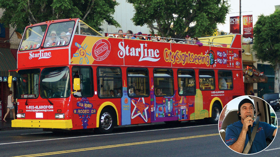 Hollywood Hills Tourbus and Guide - Inset - One Time Use Only - Newscom - H 2018