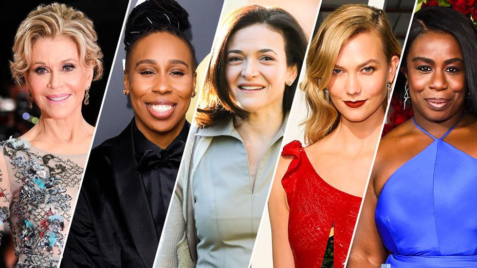 Jane Fonda, Lena Waithe, Sheryl Sandberg, Karlie Kloss and Uzo Aduba - Split - Getty - H 2018