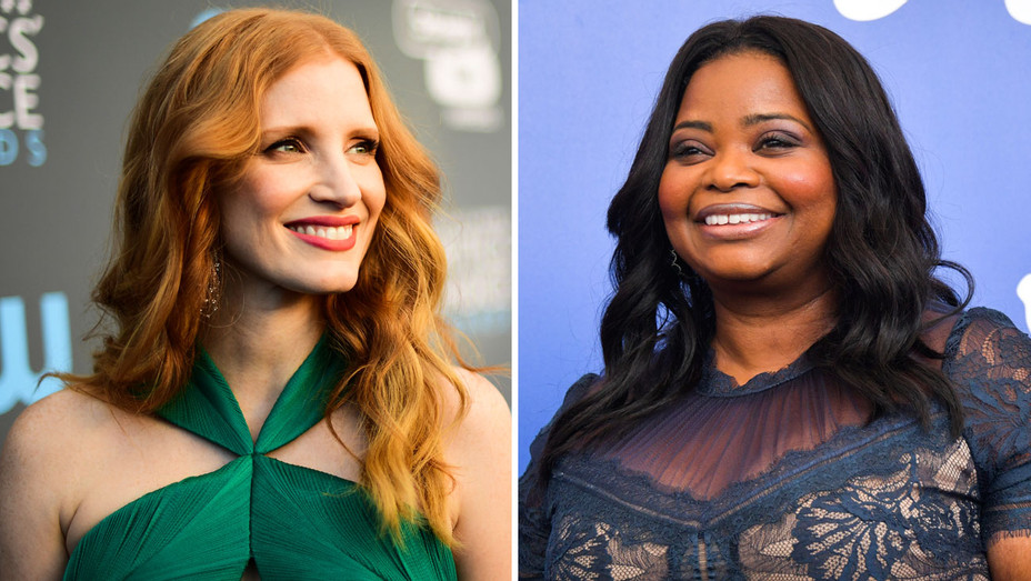Jessica Chastain and Octavia Spencer - Split - Getty - H 2018