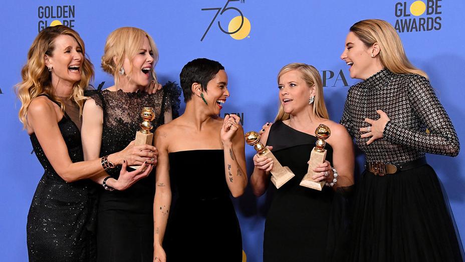 Laura Dern, Nicole Kidman, Zoe Kravitz, Reese Witherspoon and Shailene Woodley Golden Globes - Getty - H 2018