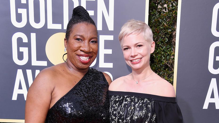 Tarana Burke and Michelle Williams - Golden Globe Awards - H Getty 2018