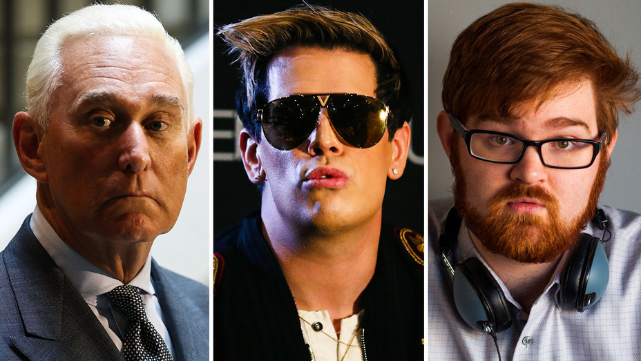 Roger Stone, Milo Yiannopoulos and Charles Johnson - Split - Getty - H 2018