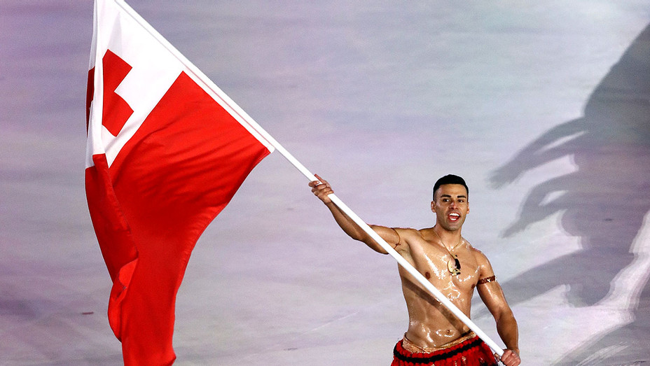 Pita Taufatofua of Tonga leads the team during the Opening Ceremony - Getty -H 2018