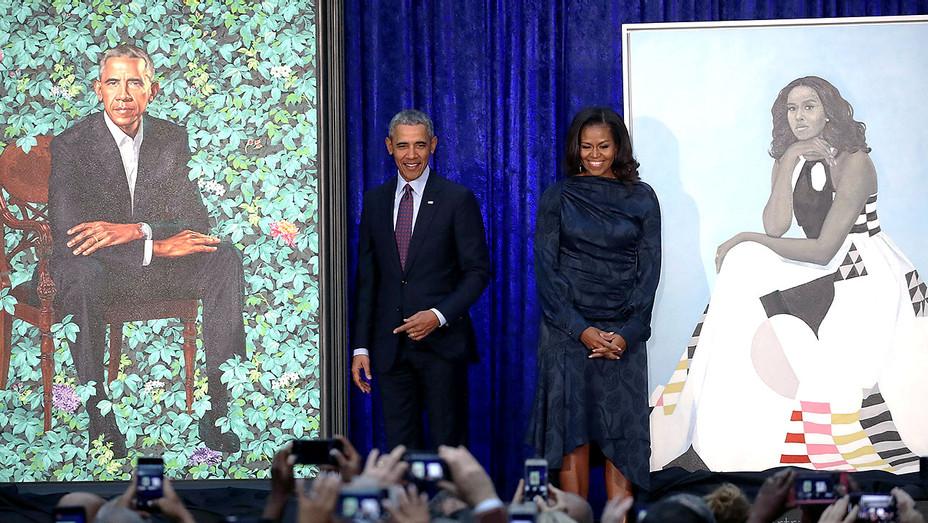 Barack Obama and Michelle Obama -unveiled portraits - Getty-H 2018