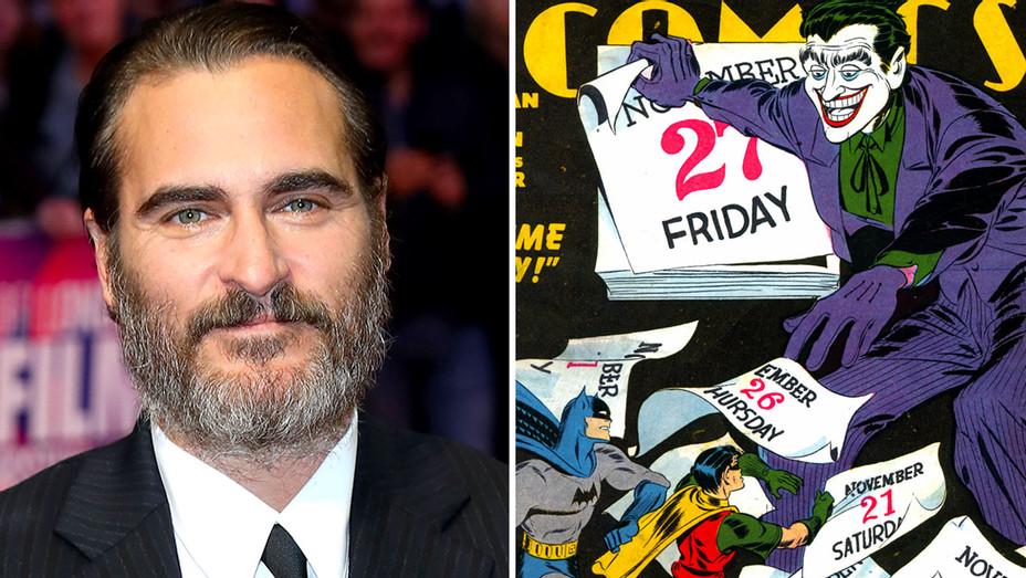 Joaquin Phoenix and comic book - The Joker from Batman-Split-H 2018