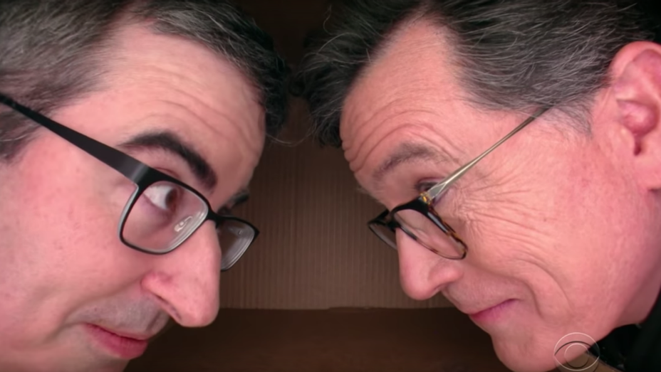 John Oliver and Stephen Colbert_personal space - Screenshot - H 2018