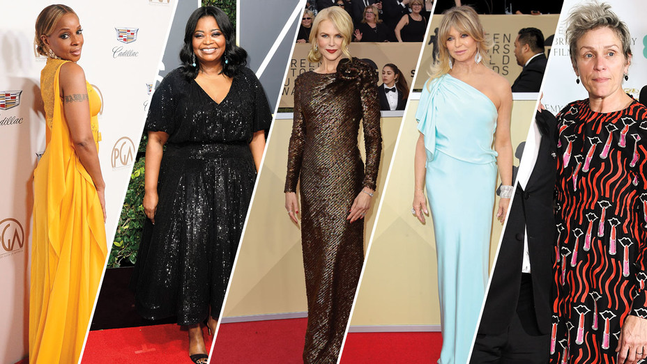 Mary J Blige, Octavia Spencer, Nicole Kidman, Goldie Hawn and Frances McDormand - Split - Getty - H 2018