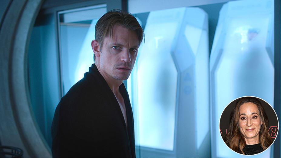 Altered Carbon featuring Joel Kinnamon with an inset of showrunner Laeta Kalogridis -H 2018